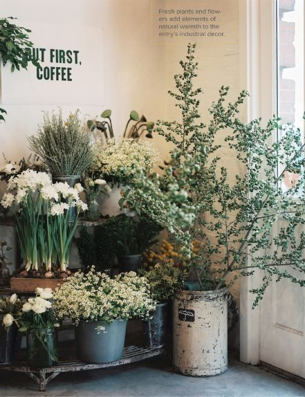 love this contained profusion of flowers and the amusing coffee sign - featured on Living Vintage Friday Favorites