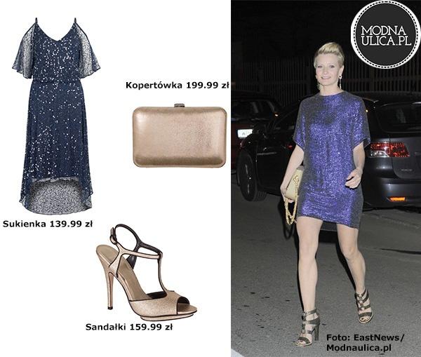 Pomysł na elegancką stylizację? Weźcie przykład z Małgosi Kożuchowskiej - niebieska sukienka z cekinami, złote sandałki na obcasie oraz kopertówka w tym samym kolorze. Udanych łowów w TK Maxx!