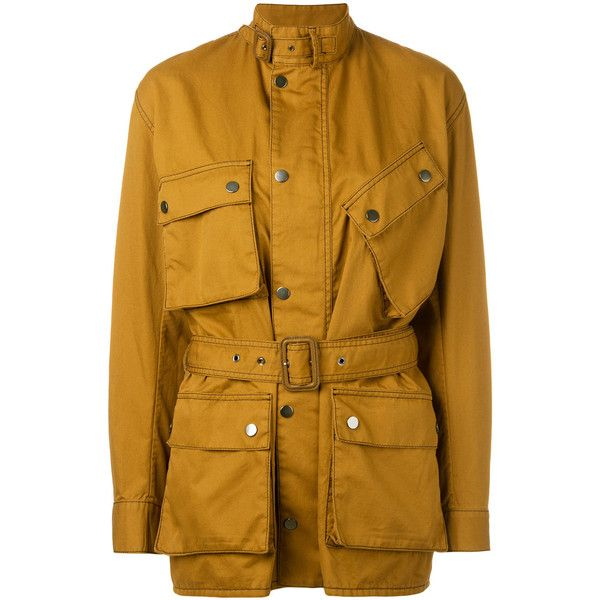 Maison Margiela multi-pocket field jacket ($995) ❤ liked on Polyvore featuring outerwear, jackets, brown, brown jacket, long sleeve jacket, army jackets, button jacket and military jacket