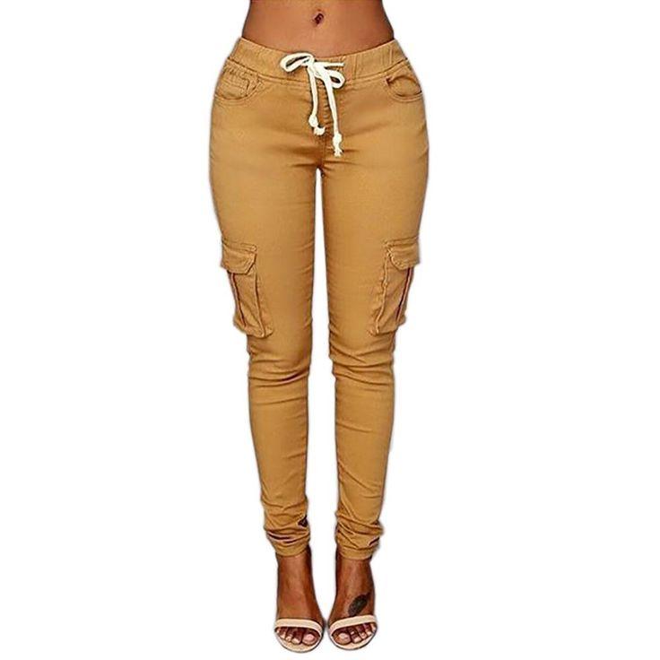 Unique New Womens Ladies Khaki Green Brown Wide Leg Combat Trousers Cargo Jeans Pants