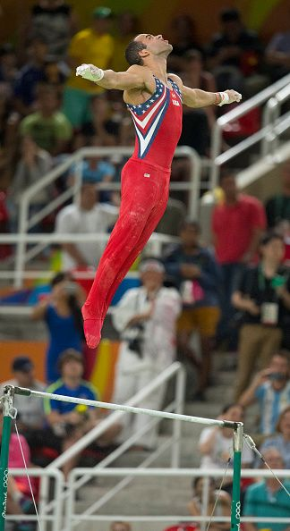 US gymnast Danell Leyva competes on the high bar during the men's gymnastics team final Monday Aug 8 2016 at the Rio Olympic Games…