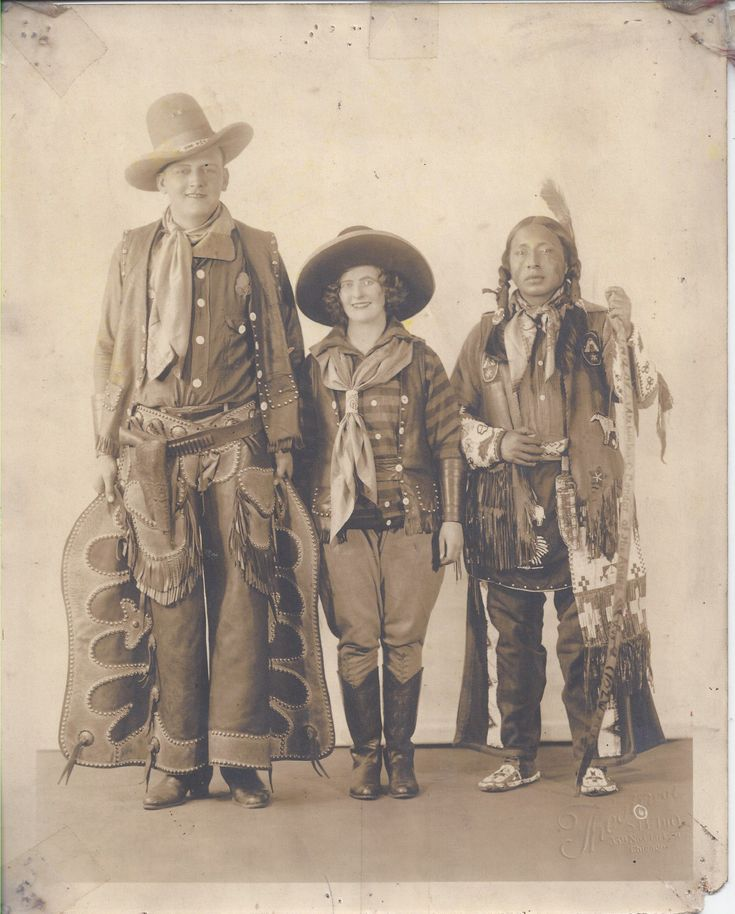 1930s Photo Wild West Show Trio Cowboys A Native American Indian Warrior | eBay