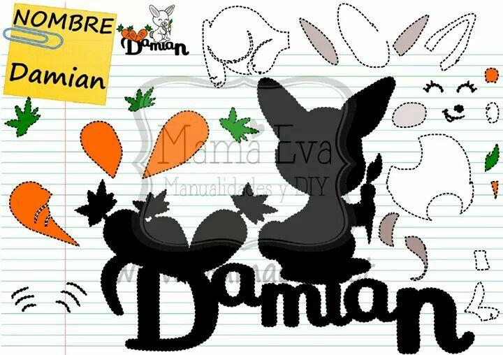 Nombre de DAMIÁN en goma eva. Haz el nombre de tu hijo o hija en Goma Eva! Tenemos decenas de diseños en www.mamaeva.net Pide el tuyo en www.facebook.com/mamaevanet. Te esperamos! :-) :-)