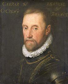 Gaspard de Coligny was graaf van Châtillon-Coligny als Gaspard II van Coligny. Hij was admiraal van Frankrijk en protestants leider. Zijn dochter Louise de Coligny was de vierde echtgenote van Willem van Oranje.
