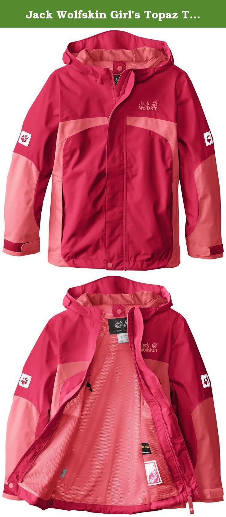 Jack Wolfskin Girl's Topaz Texapore Jacket, Azalea Red, 128. This waterproof, breathable hoody is lightweight and supple and equipped with an integrated hood and reflectors. The system zip means that it's suitable for year-round wear, as an insulating inner jacket can be zipped in.