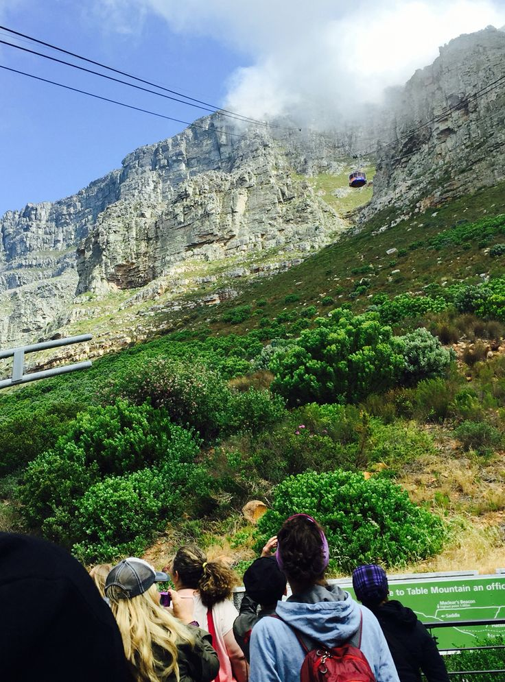 Waiting for a once-in-a-lifetime ride to the top of Table Mountain. Cape Town Odyssey Program. #fcaf