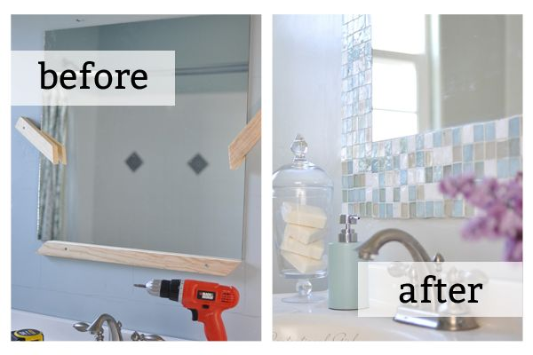 DIY tile mosiac around your bathroom mirror. Source: Centsational Girl