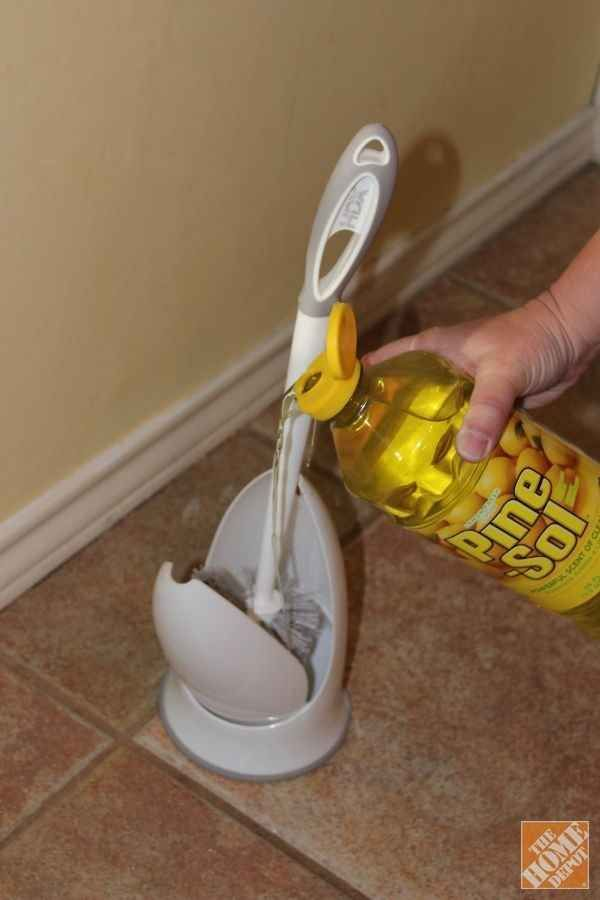 Keep your toilet brush clean and fresh smelling by pouring a bit of Pine Sol in the bottom of the holder.