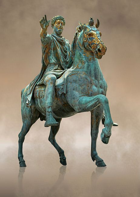 Original Roman bronze statue of Emperor Marcus Aurelius on horseback. 175 AD. Marcus Aurelius was the last of the Five Good Emperors, and is also considered one of the most important Stoic philosophers. In 1979 it was discovered that the the equestrian statue of Marcus Aurelius, in the courtyard of the Capitline Museum, had suffered badly from corrosion, particularly in its legs. The staue was removed from Michael Angelo's plinth and was transferred to the National Instution for the ...