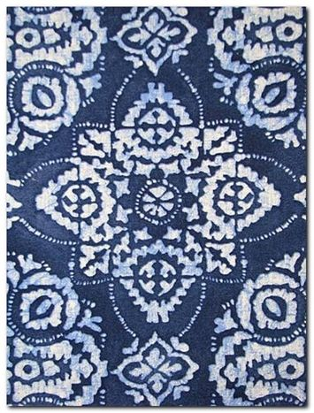 Jakarta Indigo Batik Fabric, multipurpose fabric perfect for upholstery and draperies. 100% cotton, V 27, H 27, 54 wide. Item #:	 0092320 Price:	18.95 per yard