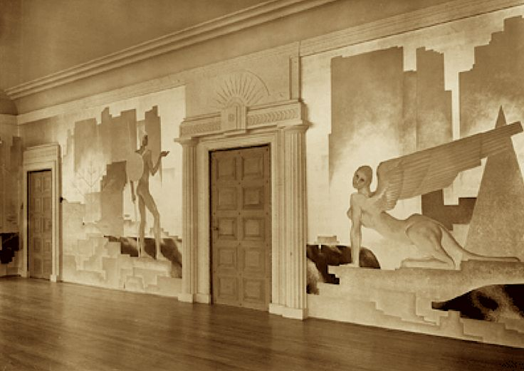 The drawing room at Mulberry House ca. 1930. Designed by architect Darcy Braddell and had lavish silver leaf classical themed murals by Glen Philpot and green bronze doors.