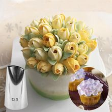 #123 Tulip Flower Aço Inoxidável Confeiteiro Piping Bicos Pastry Dicas Fondant Cup Cake Baking Ferramenta KH109(China (Mainland))
