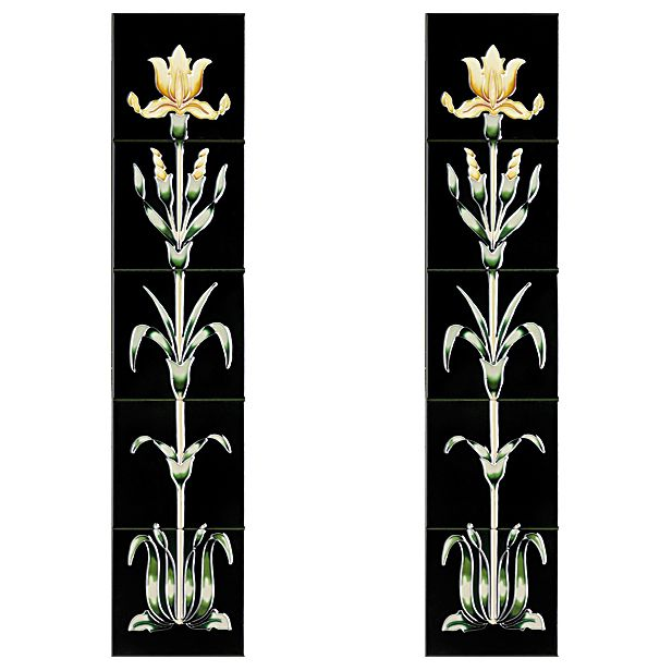 The Cast Tec Oriental Iris Tile Set Is Comprised Of Two Panels For Either Side Fireplace Each Panel Made Up Five Tiles In A Fl Pattern