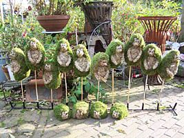 Tuindecoratie: Egels van hooi en mos Garden Decoration: Hedgehogs from Wire, Hay and Moss