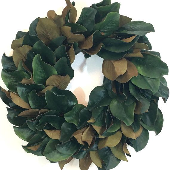 Magnolia Wreaths and Farmhouse Wreaths are a great way to add color and simple elegance to any room! This wreath is a fabulous way to make your house feel warm and welcoming for family and friends. Each of these Faux Magnolia Wreaths feature the natural look of faux Magnolia leaves around a grapevine wreath and can easily be used over a fireplace, on the front door, living or dinning room and even in a bedroom.  The purchase of this listing is for one Magnolia Wreath with the following…
