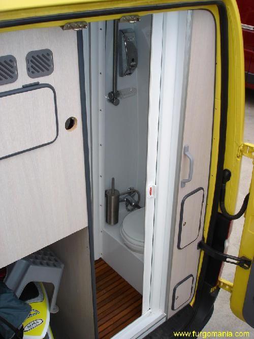 Rear bathroom in a Spanish-built Furgomania F1 Mercedes Sprinter camper van.