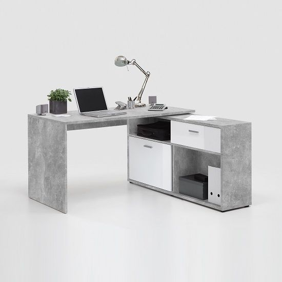 Mattia Corner Computer Desk In White High Gloss And Light Atelier With Drawer And Sliding Door, look classy and stunning in any interiors Features: •Mattia Corner Computer Desk In White High G...
