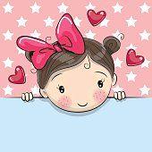 Greeting card cute Cartoon Girl with placard