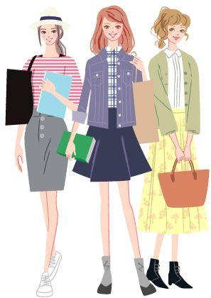 私服姿の大学生と専門学校生の女の子のイラスト ポートフォリオ仕事
