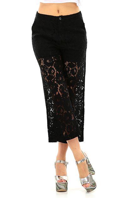 LIU.JO - Pantaloni - Abbigliamento - Pantalone a tre quarti in cotone lavorato a pizzo. Tasche sul davanti e chiusura con bottone. - NERO - € 139.00