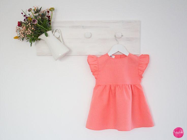 baby girl dress with ruffles organic leinenkleid maedchenkleid