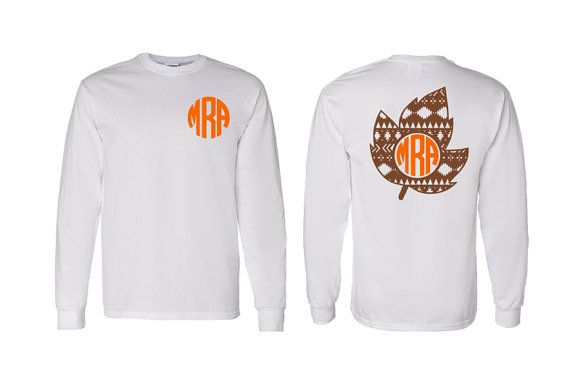 Aztec Monogram Fall Leaf Adult, Youth, Toddler Long Sleeve T-Shirt, Thanksgiving and Fall Monogram Clothing, Aztec Fall Leaf, Holiday Shirt