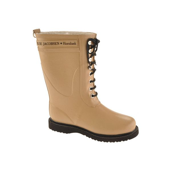 Women's Ilse Jacobsen Rub 15 - Camel Rain Boots (250 CAD) ❤ liked on Polyvore featuring shoes, boots, camel, lace up shoes, waterproof shoes, long boots, laced boots and waterproof wellington boots