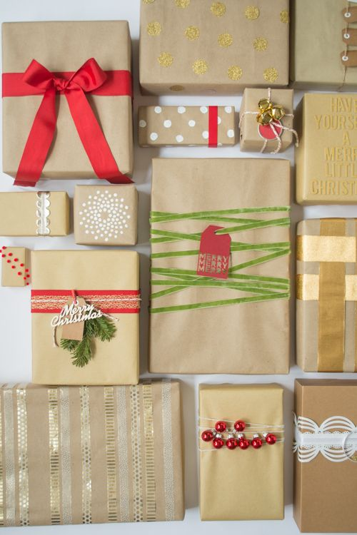 Brown Paper Packages Tied Up With String - how to wrap packages with plain brown kraft wrapping paper and then add pretty embellishments to dress it up