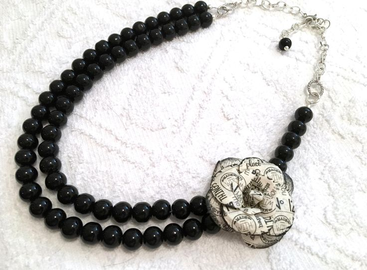BLACK OBSIDIAN Gemstone Beaded Necklace ~ Paper Flower Accent ~ Double Strung ~ Statment Necklace ~ Asymmetrical Design by CJsJewelryWorks on Etsy