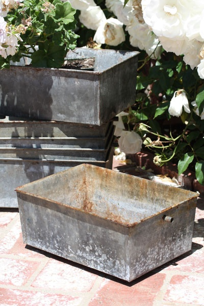galvanized square sink pans love these