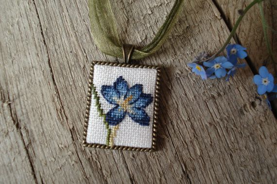 Crocus Hand embroidered pendant Cross stitch pendant by UAtelier