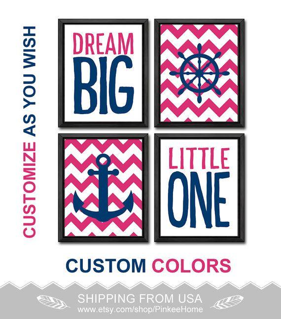 pink and navy nautical baby girl nursery dream big quote nautical girl decor girls gift ideas anchor wheel playroom art nautical girls room by PinkeeHome