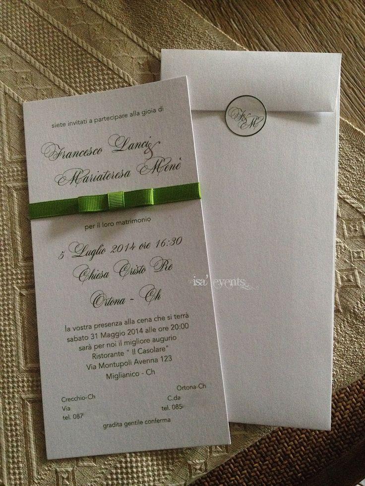 invitation to wedding in white and green invito per un matrimonio in bianco e verde  www.isaevents.it