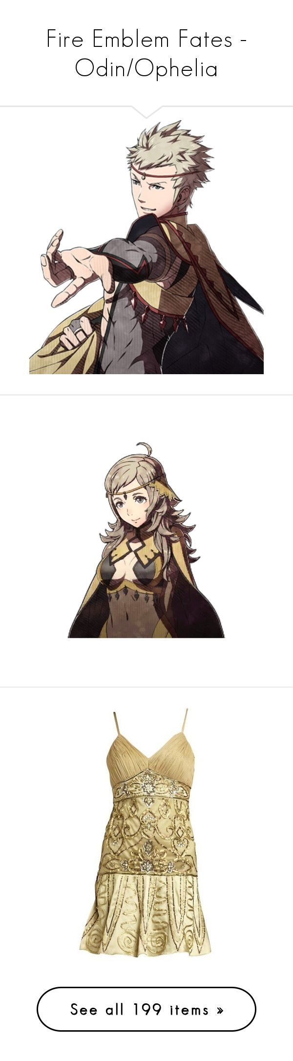 """""""Fire Emblem Fates - Odin/Ophelia"""" by marielw97 ❤ liked on Polyvore featuring dresses, olive, embroidered dress, embellished dress, sequin cocktail dresses, embroidery dress, sequined dresses, accessories, hair accessories and cream"""