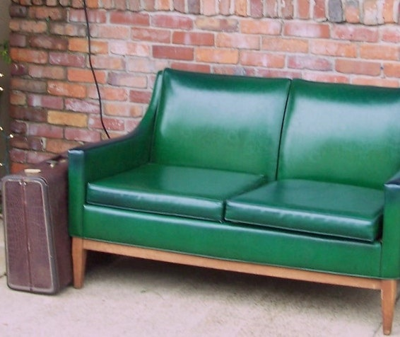 Alma Desk Company Of High Point North Carolina Bottle Green Leather  Loveseat. Via Etsy.
