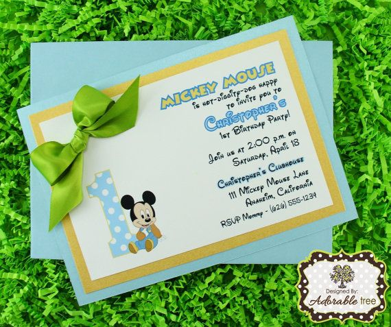 Baby Mickey Mouse Invitations  Handmade Triple by AdorableTree, $37.50