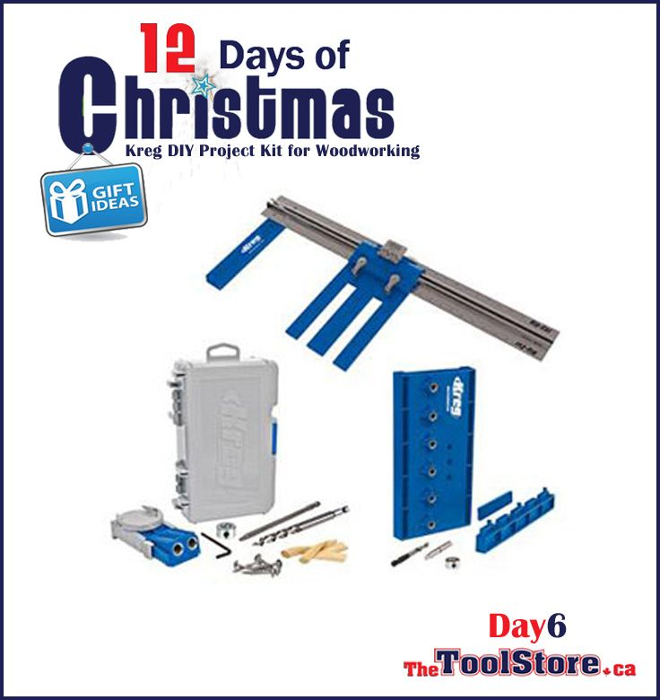 #12DaysofChristmas from @onlinetoolstore - DAY6 - Kreg DIY Project Kit equips you with three must-have tools for creating custom home woodworking projects: Kreg Rip-Cut™ Saw Guide, Kreg R3 Pocket-Hole Jig®, and Kreg Shelf Pin Jig.