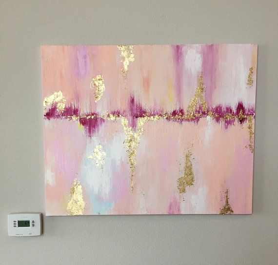 Abstract Pink and Gold Leaf van JillianRaeSchmidt op Etsy