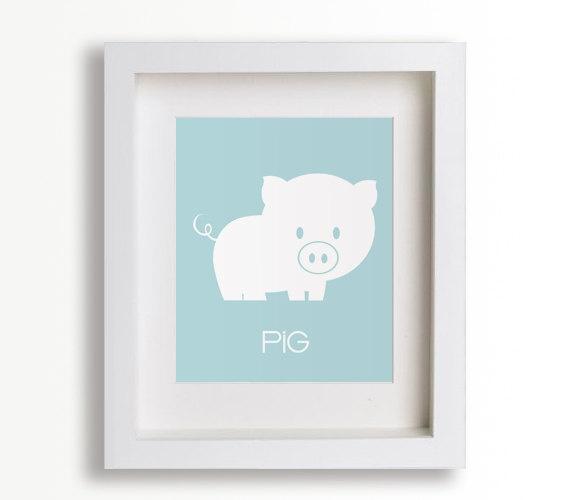 Baby's First Art Print - Pig 8x10 - Farm Decor, Nursery Decor, Nursery Art, Children's Wall Art, Playroom Decor