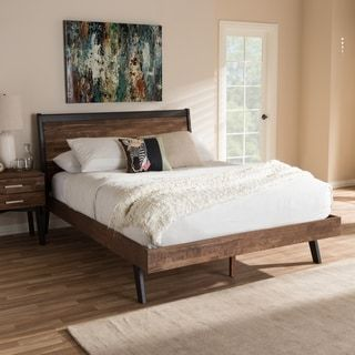 Mid-Century Brown Wood Queen Size Platform Bed by Baxton Studio