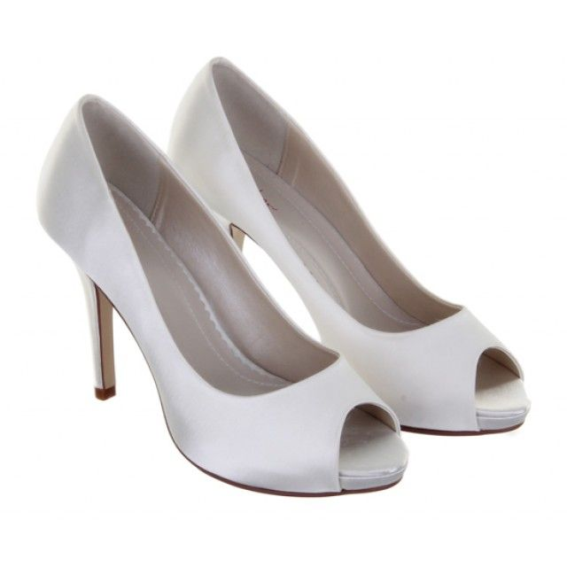 b20c4110bbc4 Jennifer - Ivory Satin Peep Toe Shoes