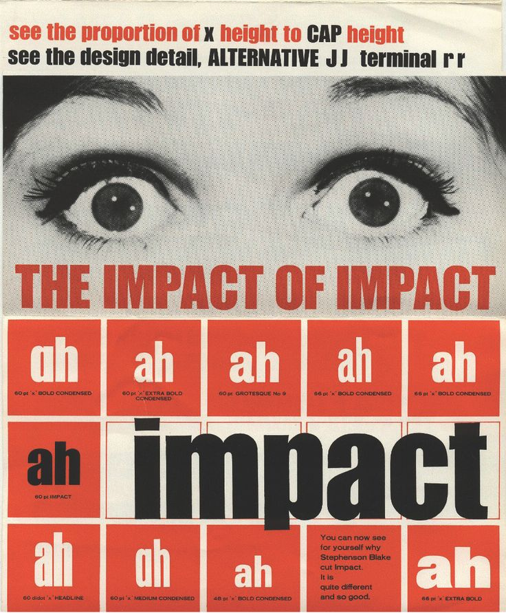 Ad brochure for the stephenson blake foundry for the Impact typeface by geoffrey lee (1965)
