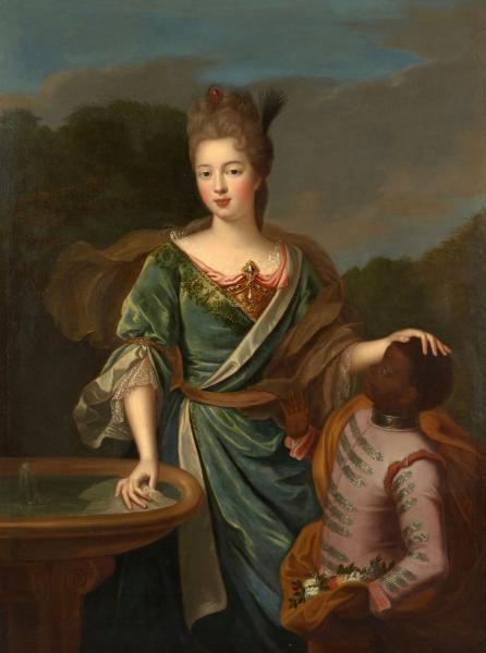 Marie-Francoise de Bourbon, Mlle de Blois, duchesse d'Orleans (1677-1849), legitimized daughter ofLouis XIV and Madame de Montespan, ca 1690's, attributed to Pierre Gobert Fontainebleau, (1662-1744)