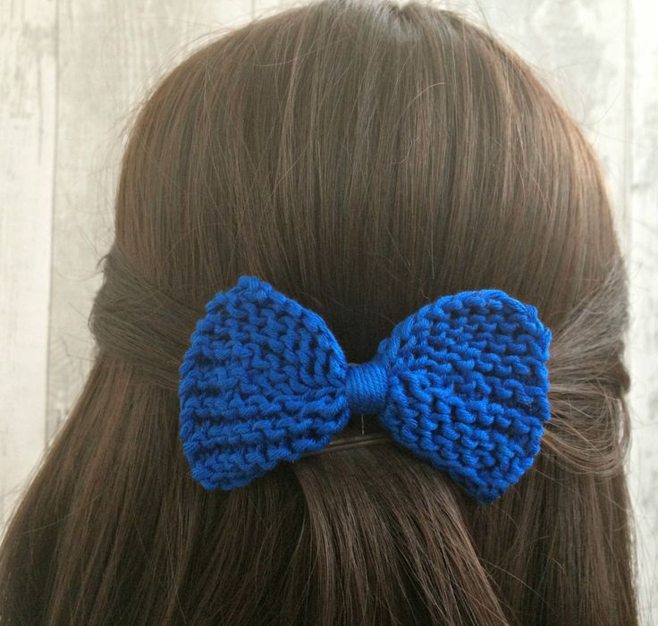 Blue Hair Bow Clips, Knit Bow Hair Barrette, Blue Girls Hair Bows, Hair Bows for Teens, Womens Hair Bows, Gift for Teen, Bridesmaid Gift by SnugCreations on Etsy
