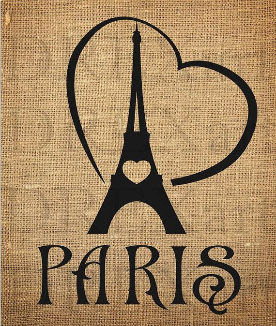 PARIS - Eiffel Tower - Heart - FRENCH STENCIL for Burlap Pillows / Wood Signs - 10 x 12 - 7 mil Mylar