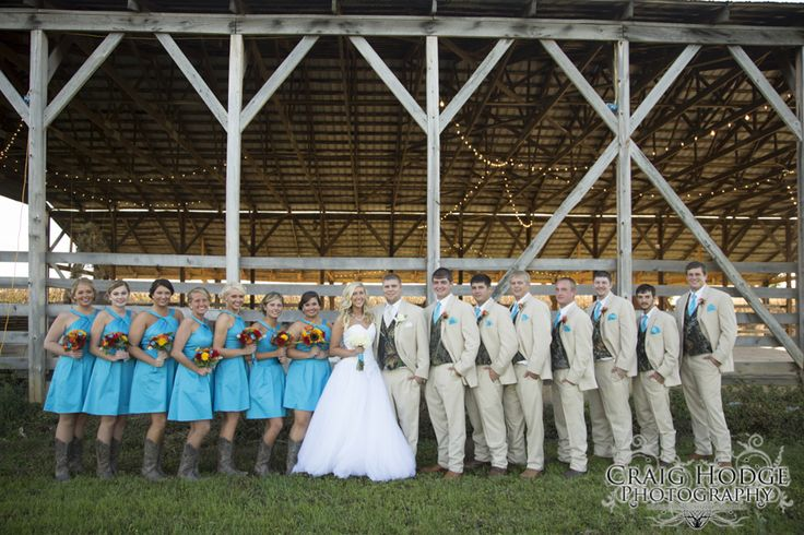 Wedding Party - barn, Christmas lights, camo and blue! Craig Hodge Photography