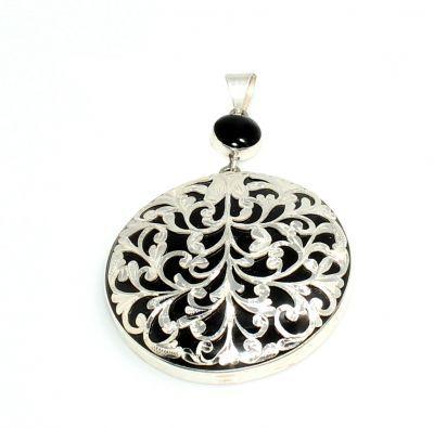 925 Ayar Gümüş Desenli 4,5 cm Oltu Taşı Kolye Ucu