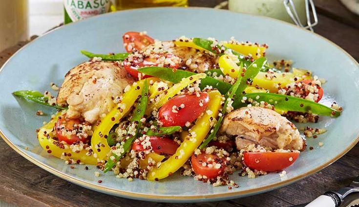 Quinoasalat med sukkererter og kylling