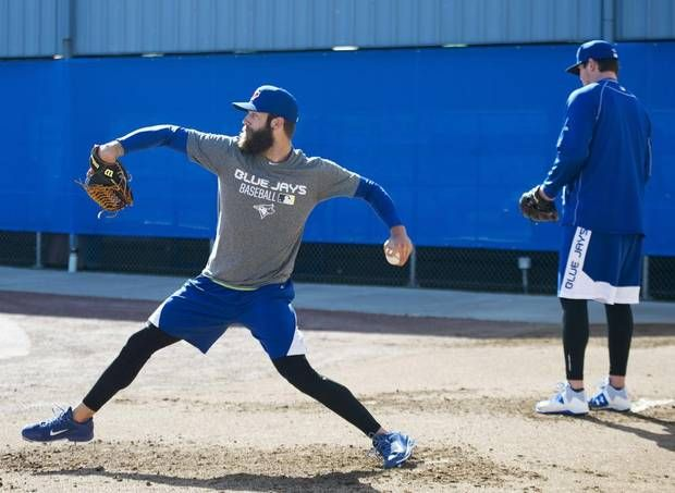 Toronto Blue Jays pitcher Daniel Norris throws in the bullpen during an informal spring training baseball workout. (Nathan Denette/THE CANADIAN PRESS)