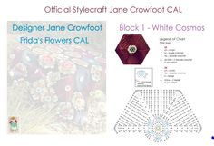 Pt 1 Diagram Chart for Frida's Flowers Blanket CAL 2016 called White Cosmos Block 1 Chart Jane Crowfoot